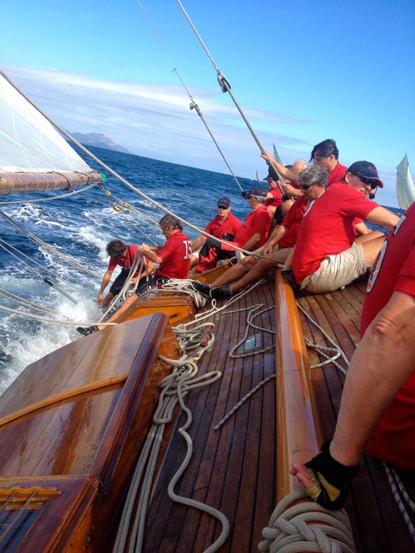 L'équipage du Nan au rappel aux Voiles de Saint Tropez 2013