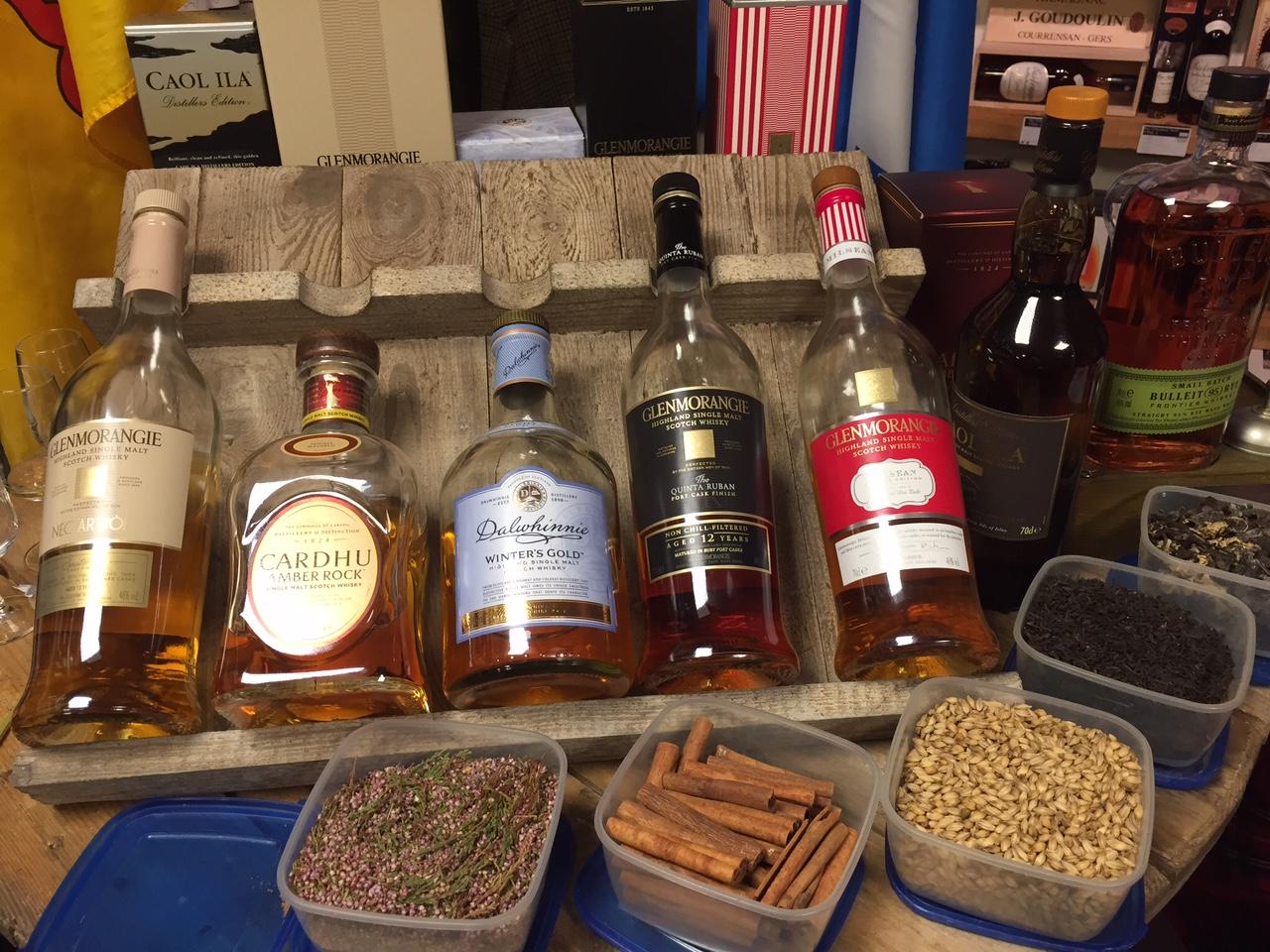 Whiskys dégustés lors de la soirée Whiskys avec Jullian Hutchings à la Cave d'Antoine de Tourcoing