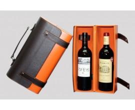 Coffret Malette Orange/Marron cuir 2 Bt